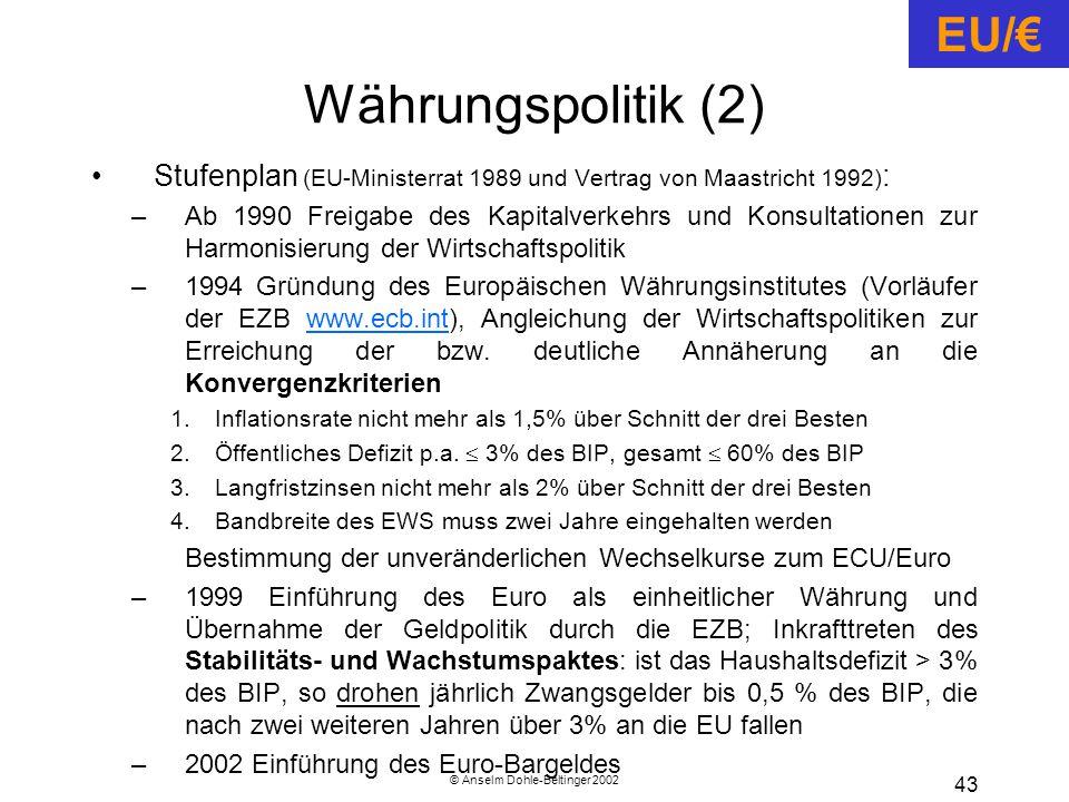 © Anselm Dohle-Beltinger 2002 43 Währungspolitik (2) Stufenplan (EU-Ministerrat 1989 und Vertrag von Maastricht 1992) : –Ab 1990 Freigabe des Kapitalverkehrs und Konsultationen zur Harmonisierung der Wirtschaftspolitik –1994 Gründung des Europäischen Währungsinstitutes (Vorläufer der EZB www.ecb.int), Angleichung der Wirtschaftspolitiken zur Erreichung der bzw.