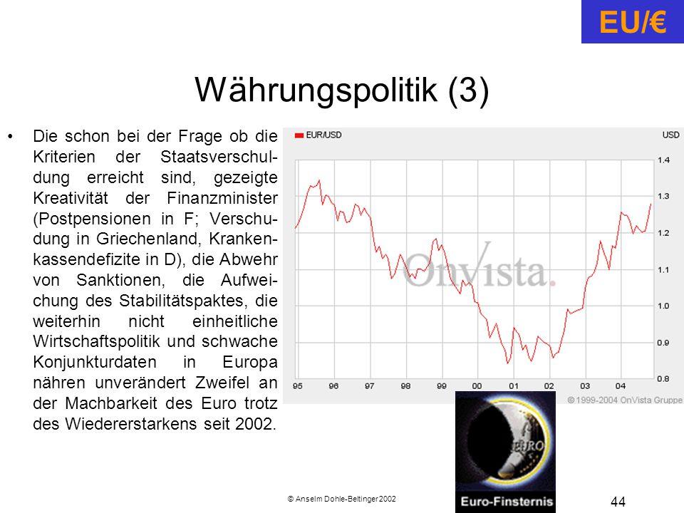 © Anselm Dohle-Beltinger 2002 44 Währungspolitik (3) Die schon bei der Frage ob die Kriterien der Staatsverschul- dung erreicht sind, gezeigte Kreativität der Finanzminister (Postpensionen in F; Verschu- dung in Griechenland, Kranken- kassendefizite in D), die Abwehr von Sanktionen, die Aufwei- chung des Stabilitätspaktes, die weiterhin nicht einheitliche Wirtschaftspolitik und schwache Konjunkturdaten in Europa nähren unverändert Zweifel an der Machbarkeit des Euro trotz des Wiedererstarkens seit 2002.