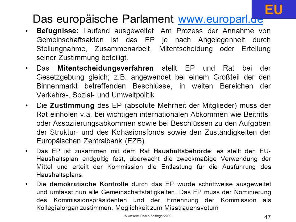 © Anselm Dohle-Beltinger 2002 47 Das europäische Parlament www.europarl.dewww.europarl.de Befugnisse: Laufend ausgeweitet.