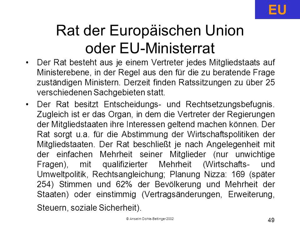 © Anselm Dohle-Beltinger 2002 49 Rat der Europäischen Union oder EU-Ministerrat Der Rat besteht aus je einem Vertreter jedes Mitgliedstaats auf Ministerebene, in der Regel aus den für die zu beratende Frage zuständigen Ministern.