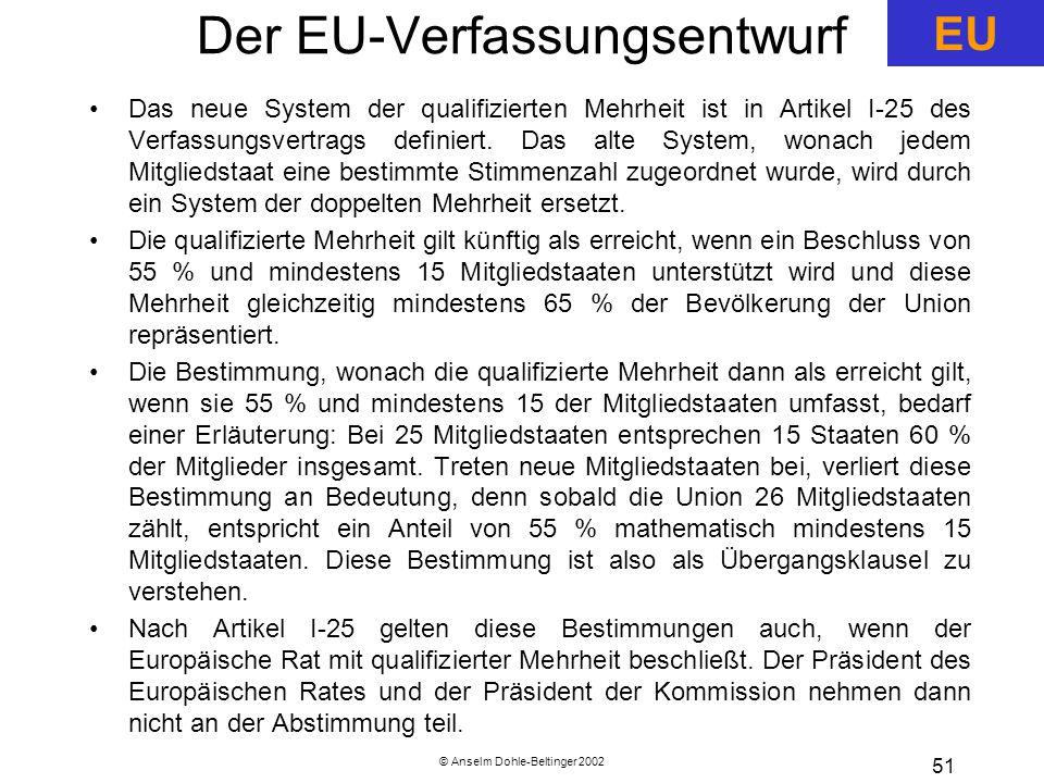 © Anselm Dohle-Beltinger 2002 51 Der EU-Verfassungsentwurf Das neue System der qualifizierten Mehrheit ist in Artikel I-25 des Verfassungsvertrags definiert.
