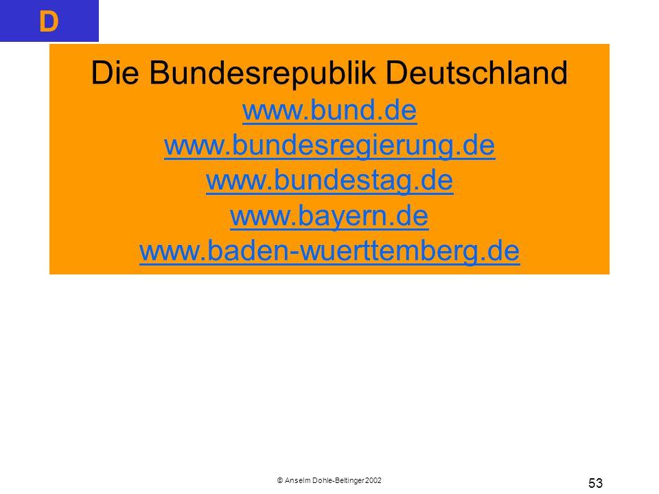 © Anselm Dohle-Beltinger 2002 53 Die Bundesrepublik Deutschland www.bund.de www.bundesregierung.de www.bundestag.de www.bayern.de www.baden-wuerttemberg.de www.bund.de www.bundesregierung.de www.bundestag.de www.bayern.de www.baden-wuerttemberg.de D