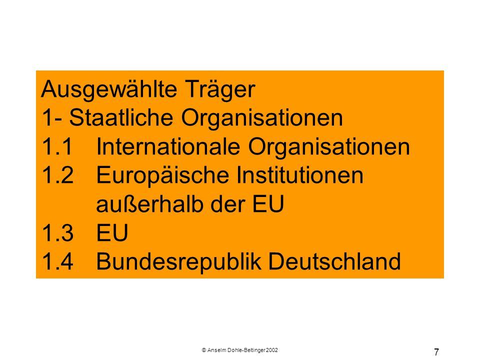 © Anselm Dohle-Beltinger 2002 48 Der europäische Rat (ER) Mitglieder: Die Staats- und Regierungschefs Der ER ist eine vertragliche Gemeinschafts-institution und dem Ministerrat faktisch übergeordnet (Weisungsbefugnis).