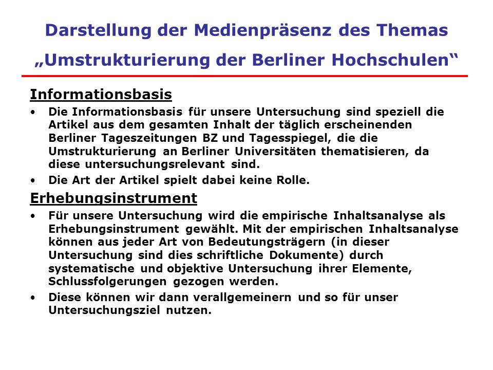 """Darstellung der Medienpräsenz des Themas """"Umstrukturierung der Berliner Hochschulen"""" Informationsbasis Die Informationsbasis für unsere Untersuchung s"""