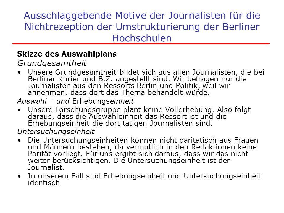 Ausschlaggebende Motive der Journalisten für die Nichtrezeption der Umstrukturierung der Berliner Hochschulen Skizze des Auswahlplans Grundgesamtheit
