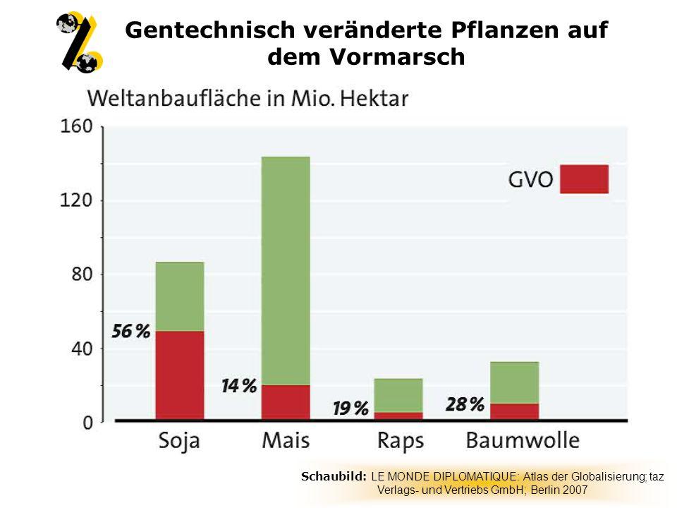 Gentechnisch veränderte Pflanzen auf dem Vormarsch Schaubild: LE MONDE DIPLOMATIQUE: Atlas der Globalisierung; taz Verlags- und Vertriebs GmbH; Berlin