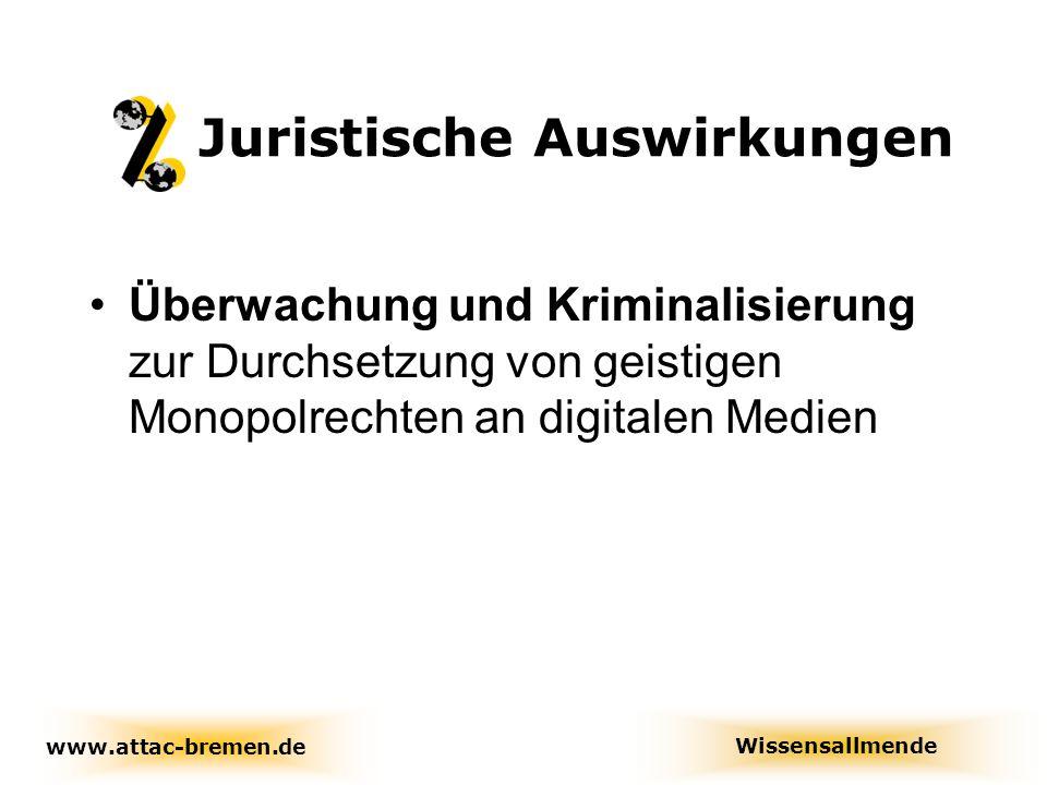 Auswirkungen auf die Bildung www.attac-bremen.de www.attac.de/wissensallmende Wissensallmende Pläne der EU gehen über die WTO- Standards hinaus ( Euro