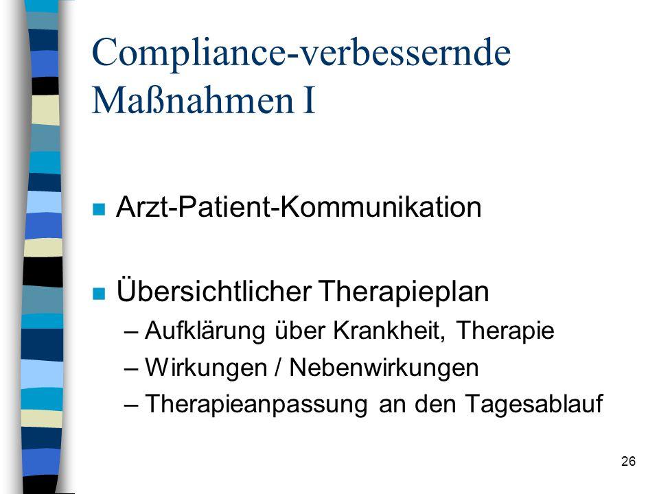 25 Messung der Compliance n Allgemeine klinische Beurteilung n Therapieerfolg n Tablettenzählung n Spiegel von Medikamenten im Blut n Einhaltung von A