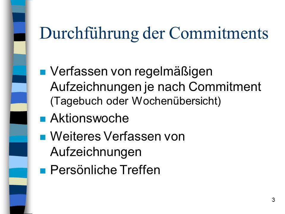 3 Durchführung der Commitments n Verfassen von regelmäßigen Aufzeichnungen je nach Commitment (Tagebuch oder Wochenübersicht) n Aktionswoche n Weiteres Verfassen von Aufzeichnungen n Persönliche Treffen