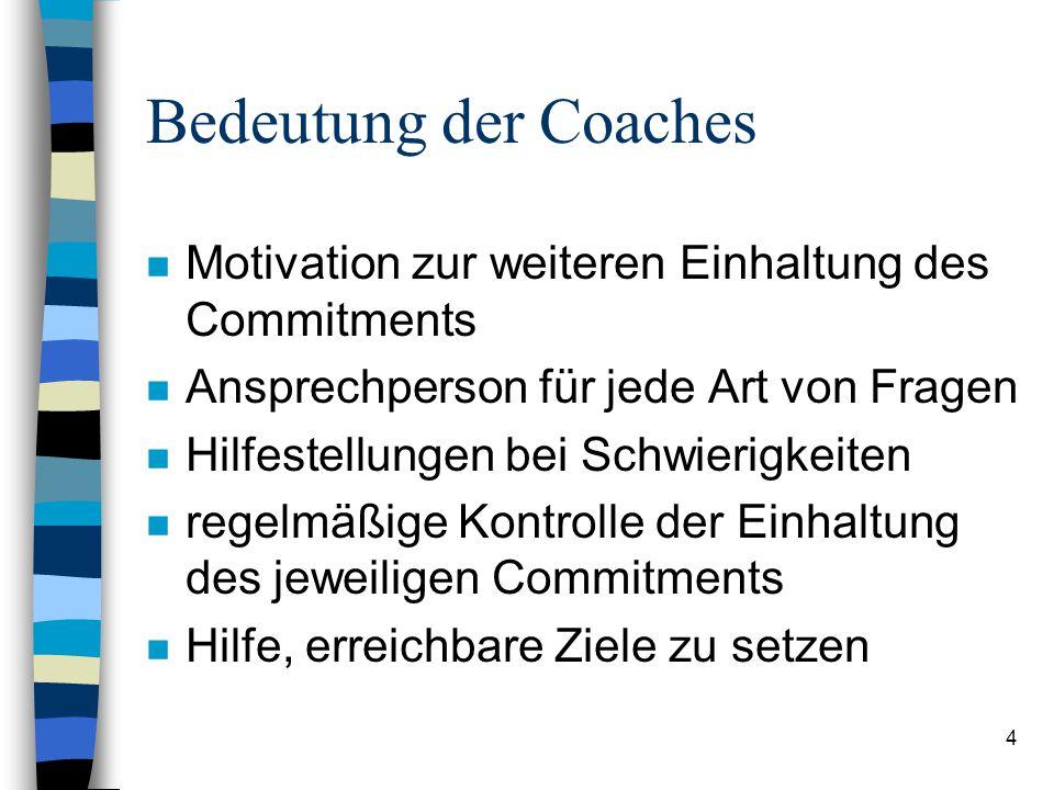 4 Bedeutung der Coaches n Motivation zur weiteren Einhaltung des Commitments n Ansprechperson für jede Art von Fragen n Hilfestellungen bei Schwierigkeiten n regelmäßige Kontrolle der Einhaltung des jeweiligen Commitments n Hilfe, erreichbare Ziele zu setzen