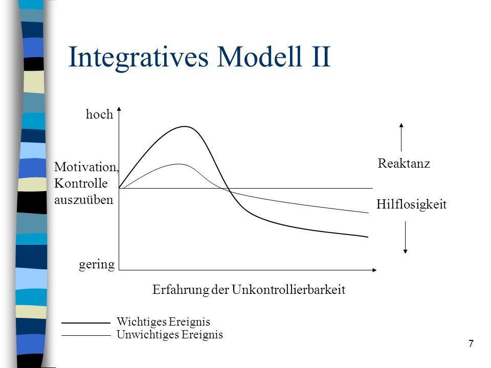 7 Integratives Modell II Erfahrung der Unkontrollierbarkeit hoch gering Motivation, Kontrolle auszuüben Reaktanz Hilflosigkeit Wichtiges Ereignis Unwichtiges Ereignis
