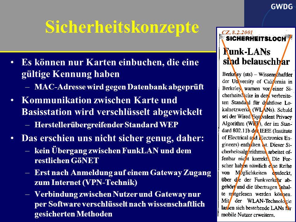 12 Gerhard Schneider geeignete Antennen Durch Einsatz besserer Antennen vergrößerte Reichweite bei direkter, ungehinderter Sichtverbindung –11 Mbit/s bis 3,5 km –Blauer Turm als zentraler Standort, Rathaus folgt