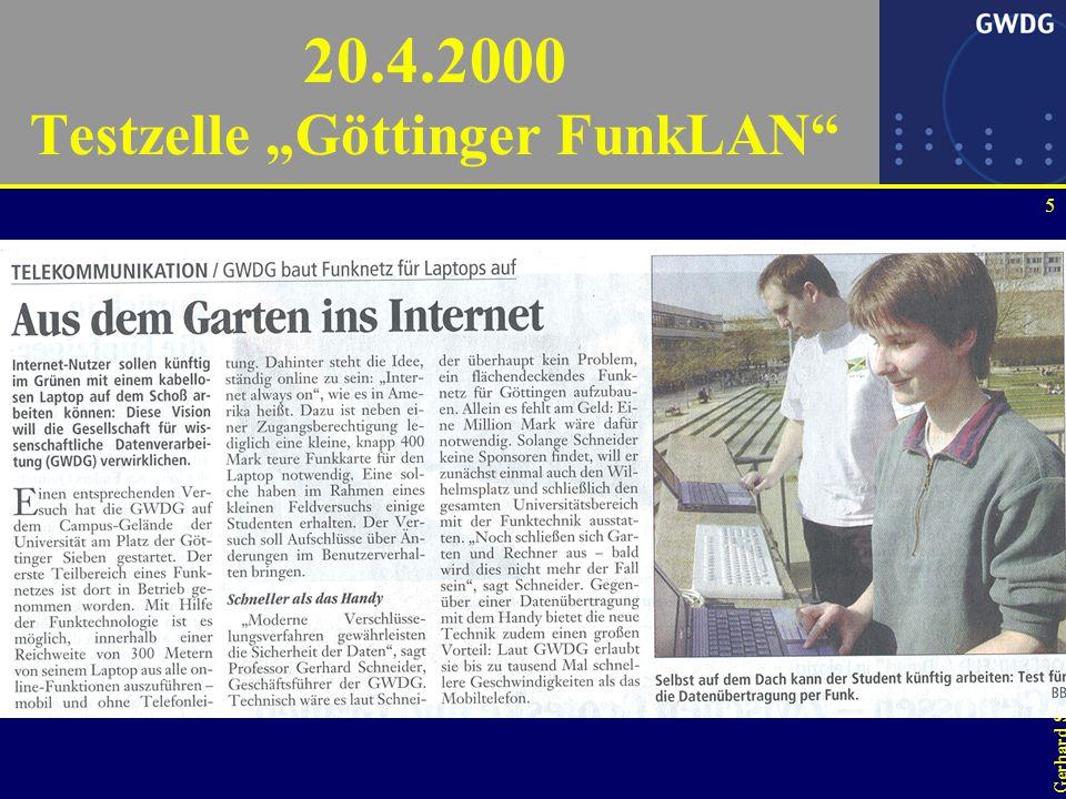 15 Gerhard Schneider FunkLAN-Betriebskonzept Wichtigste Prämisse für uns: ein FunkLAN darf nicht nur lokal funktionieren –keine Erweiterung des alten Festnetzgedankens, sondern Roaming wie auch beim Handy –hier geschehen die Design-Fehler.