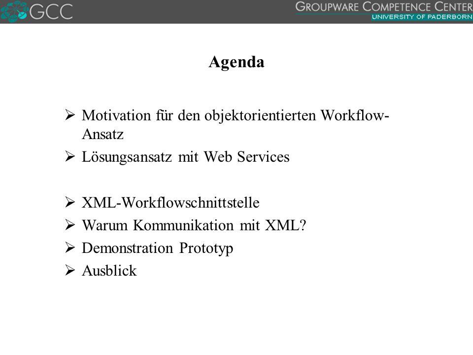 Agenda  Motivation für den objektorientierten Workflow- Ansatz  Lösungsansatz mit Web Services  XML-Workflowschnittstelle  Warum Kommunikation mit XML.