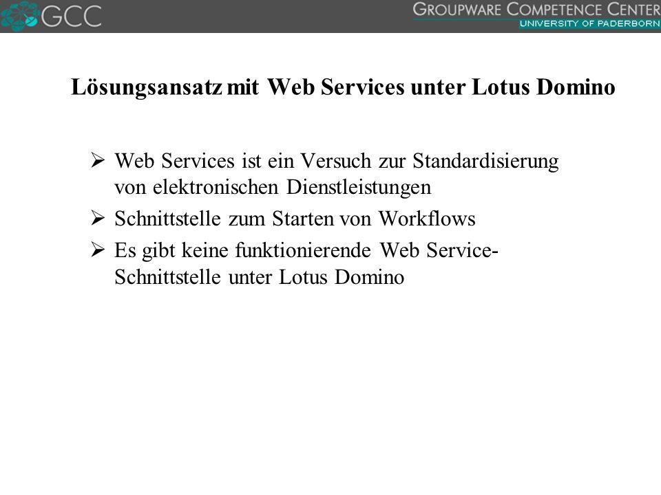 Lösungsansatz mit Web Services unter Lotus Domino  Web Services ist ein Versuch zur Standardisierung von elektronischen Dienstleistungen  Schnittstelle zum Starten von Workflows  Es gibt keine funktionierende Web Service- Schnittstelle unter Lotus Domino