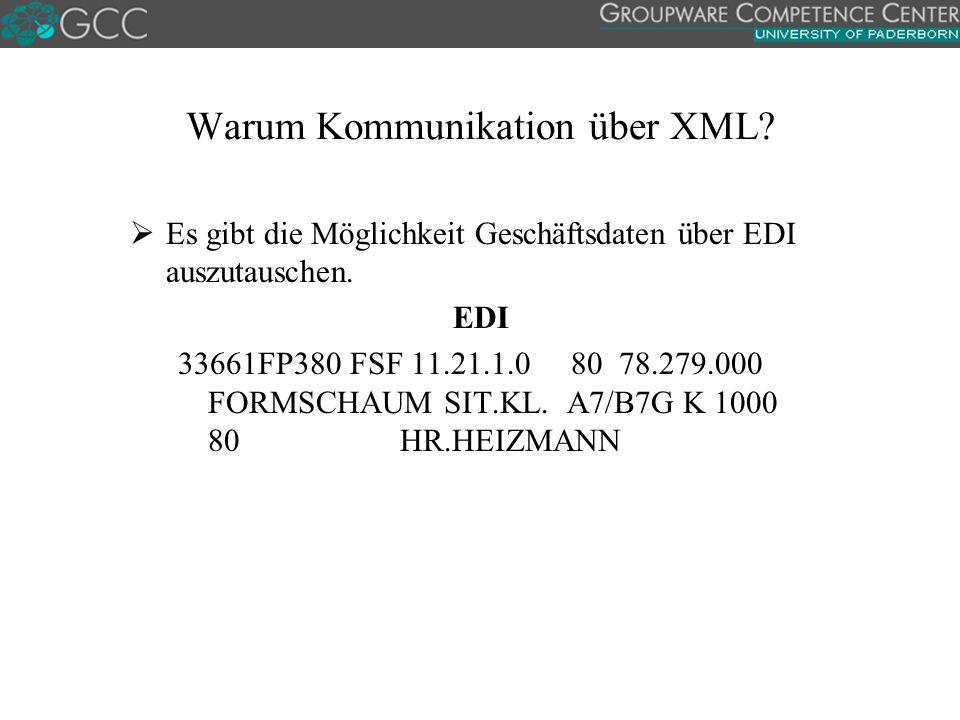 Warum Kommunikation über XML.  Es gibt die Möglichkeit Geschäftsdaten über EDI auszutauschen.