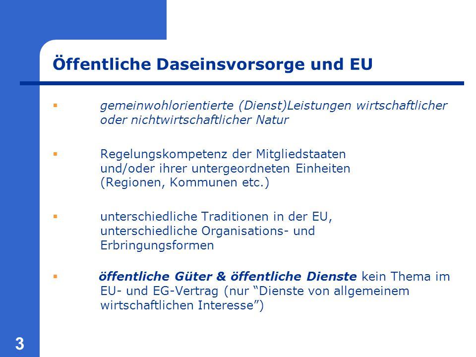 3 Öffentliche Daseinsvorsorge und EU  gemeinwohlorientierte (Dienst)Leistungen wirtschaftlicher oder nichtwirtschaftlicher Natur  Regelungskompetenz