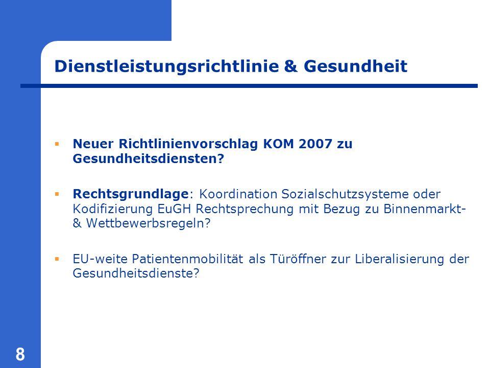 8 Dienstleistungsrichtlinie & Gesundheit  Neuer Richtlinienvorschlag KOM 2007 zu Gesundheitsdiensten?  Rechtsgrundlage: Koordination Sozialschutzsys