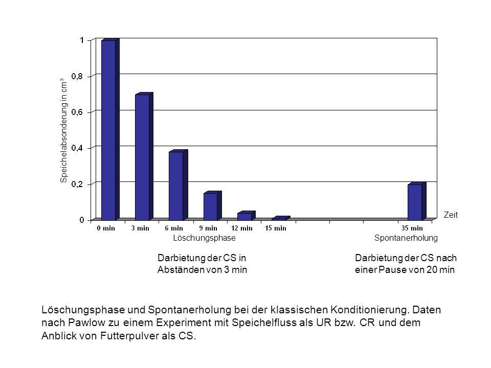 Speichelabsonderung in cm³ LöschungsphaseSpontanerholung Zeit Darbietung der CS in Abständen von 3 min Darbietung der CS nach einer Pause von 20 min L