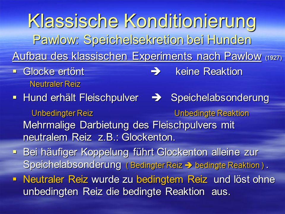 Klassische Konditionierung Pawlow: Speichelsekretion bei Hunden Aufbau des klassischen Experiments nach Pawlow (1927)  Glocke ertönt  keine Reaktion