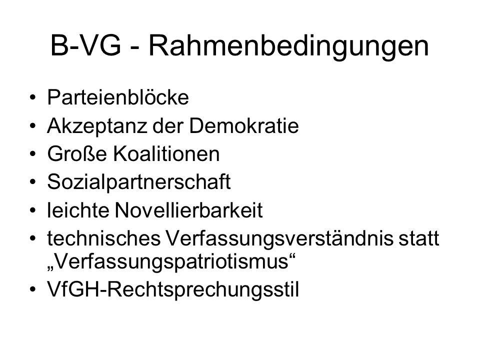 B-VG - Rahmenbedingungen Parteienblöcke Akzeptanz der Demokratie Große Koalitionen Sozialpartnerschaft leichte Novellierbarkeit technisches Verfassung