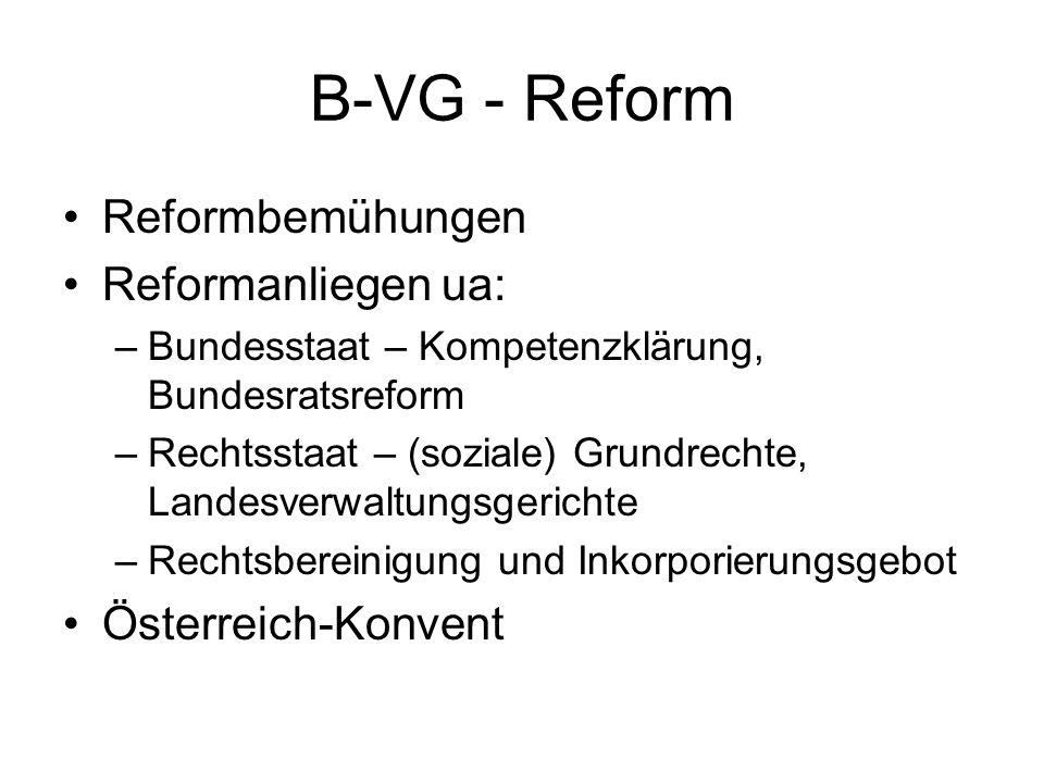 B-VG - Reform Reformbemühungen Reformanliegen ua: –Bundesstaat – Kompetenzklärung, Bundesratsreform –Rechtsstaat – (soziale) Grundrechte, Landesverwal