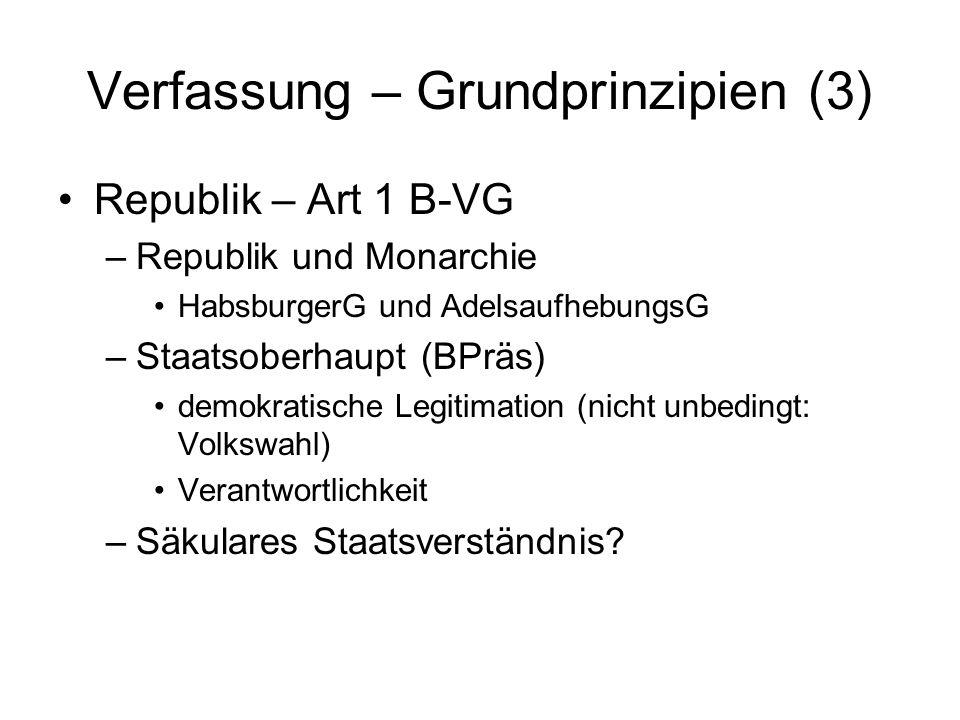 Verfassung – Grundprinzipien (3) Republik – Art 1 B-VG –Republik und Monarchie HabsburgerG und AdelsaufhebungsG –Staatsoberhaupt (BPräs) demokratische