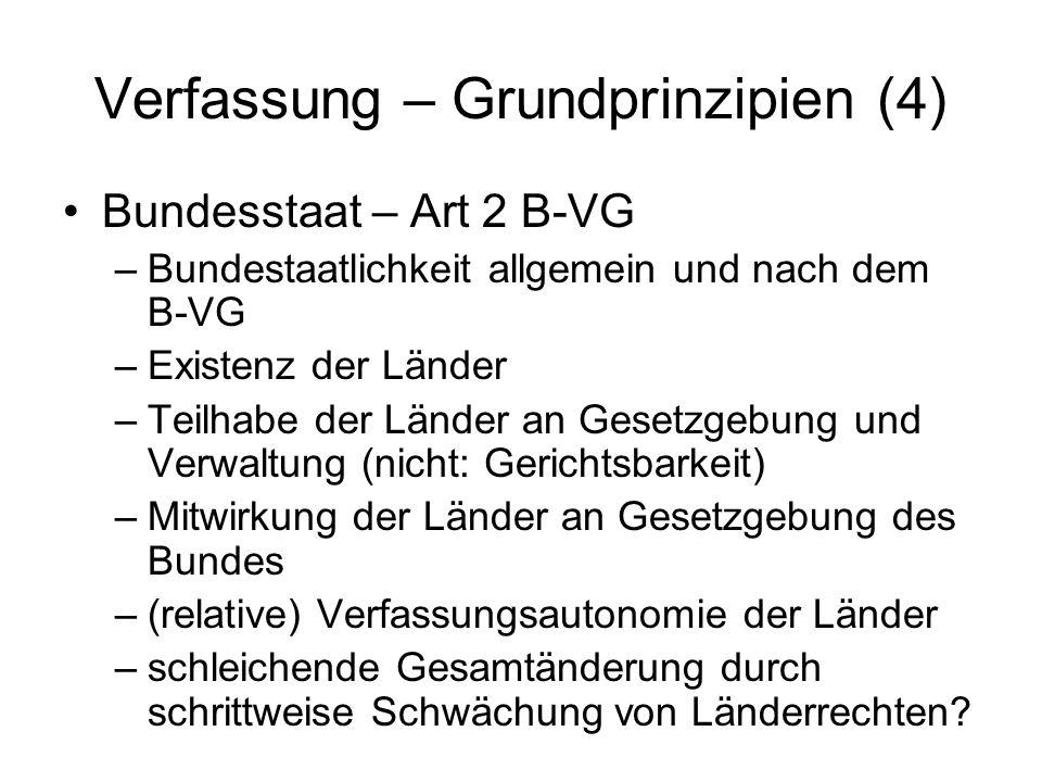 Verfassung – Grundprinzipien (4) Bundesstaat – Art 2 B-VG –Bundestaatlichkeit allgemein und nach dem B-VG –Existenz der Länder –Teilhabe der Länder an