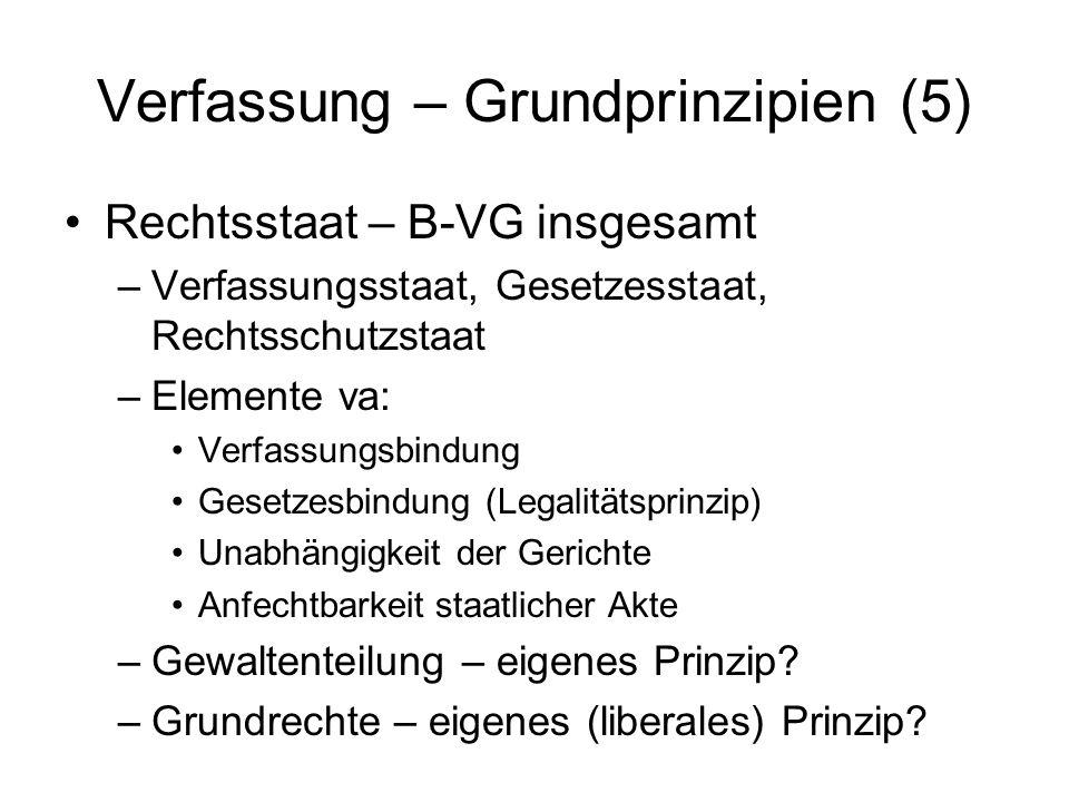 Verfassung – Grundprinzipien (5) Rechtsstaat – B-VG insgesamt –Verfassungsstaat, Gesetzesstaat, Rechtsschutzstaat –Elemente va: Verfassungsbindung Ges