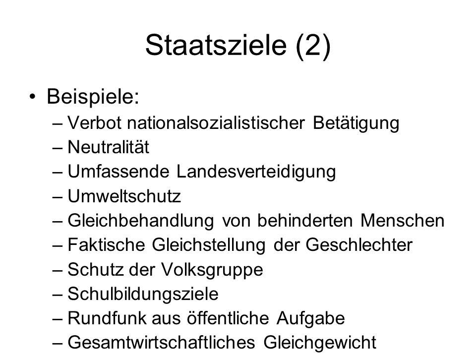 Staatsziele (2) Beispiele: –Verbot nationalsozialistischer Betätigung –Neutralität –Umfassende Landesverteidigung –Umweltschutz –Gleichbehandlung von