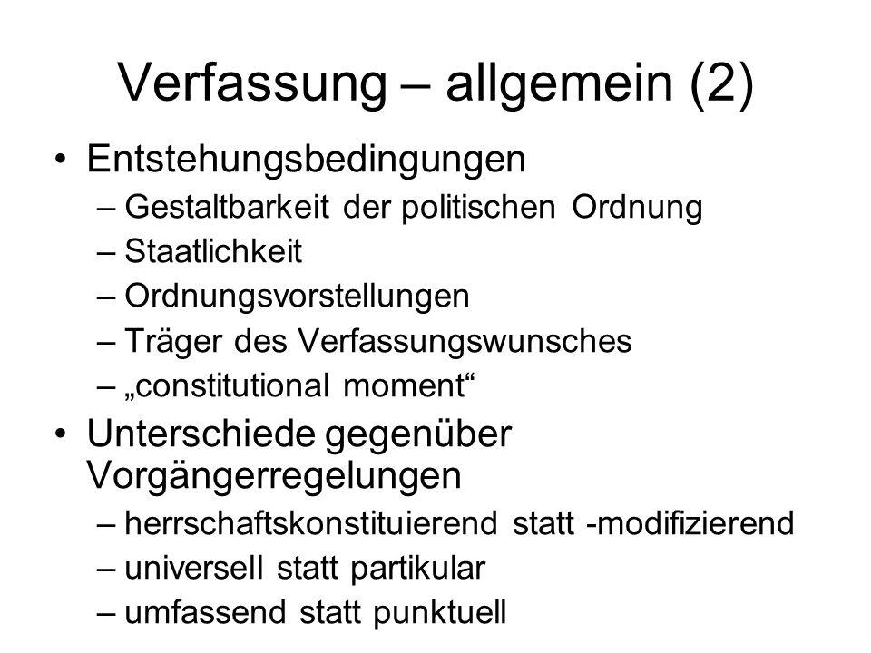 Verfassung – allgemein (3) Entstehung ab 18.
