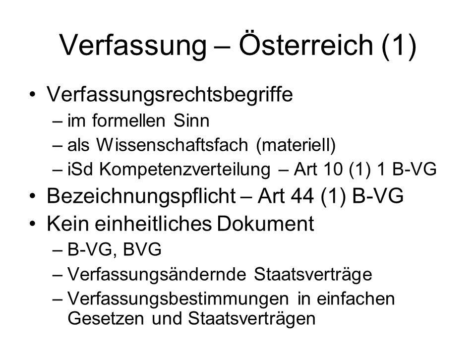 Verfassung – Österreich (2) Inhalt –Organisationsrecht –Grundrechte –Staatsziele Erschwerte Änderbarkeit –Art 44 (1) B-VG –Gesamtänderung – Art 44 (3) B-VG Höherrangigkeit –zB Art 140 B-VG –Prinzipien (Baugesetze) als höchste Schicht –Stufenbau der Rechtsordnung