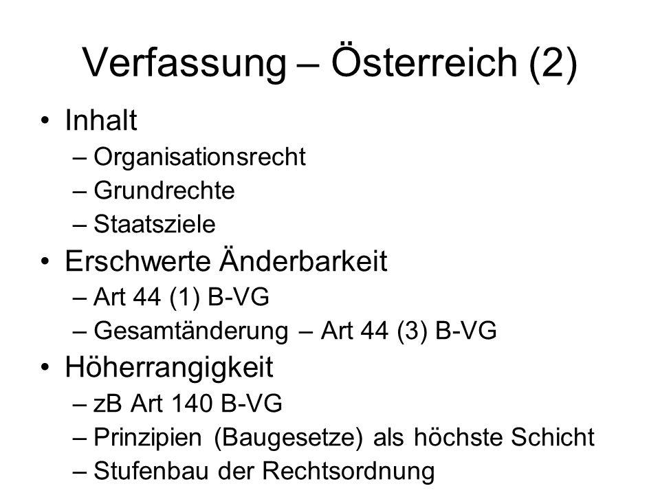 Verfassung – Österreich (2) Inhalt –Organisationsrecht –Grundrechte –Staatsziele Erschwerte Änderbarkeit –Art 44 (1) B-VG –Gesamtänderung – Art 44 (3)