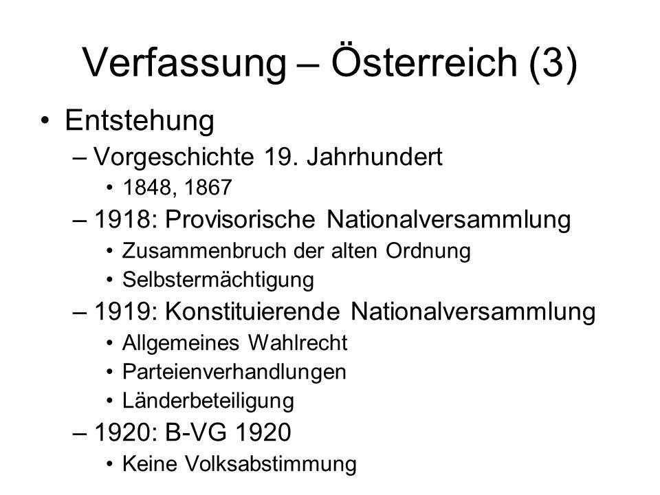Verfassung – Österreich (3) Entstehung –Vorgeschichte 19. Jahrhundert 1848, 1867 –1918: Provisorische Nationalversammlung Zusammenbruch der alten Ordn