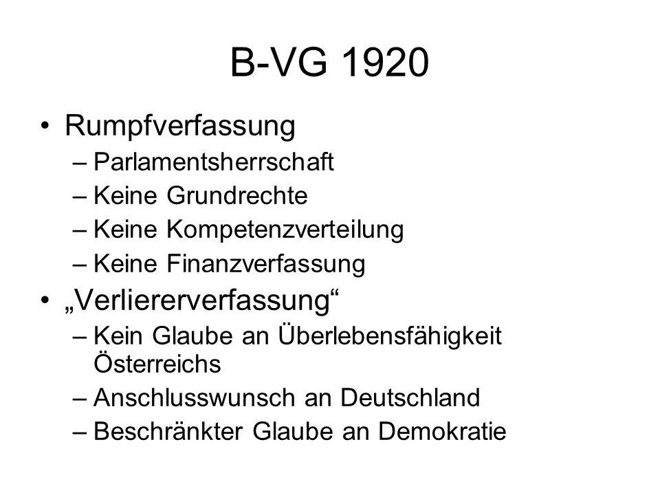 """B-VG 1920 – Entwicklung (1) Stationen –F-VG 1922 – Finanzverfassung –Nov 1925 – Kompetenzverteilung –Nov 1929 – präsidentieller Einschlag –1933: Putsch, """"Selbstausschaltung Parlament –1934: ständestaatliche Verfassung –1938: """"Anschluss Fazit: Scheitern"""