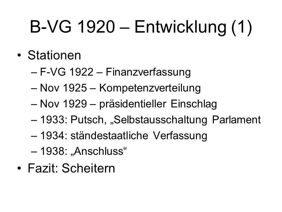 B-VG 1920 – Entwicklung (1) Stationen –F-VG 1922 – Finanzverfassung –Nov 1925 – Kompetenzverteilung –Nov 1929 – präsidentieller Einschlag –1933: Putsc