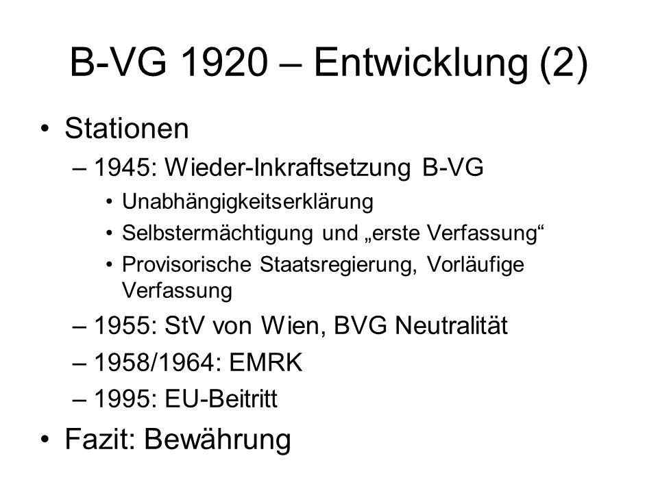 """B-VG 1920 – Entwicklung (2) Stationen –1945: Wieder-Inkraftsetzung B-VG Unabhängigkeitserklärung Selbstermächtigung und """"erste Verfassung"""" Provisorisc"""