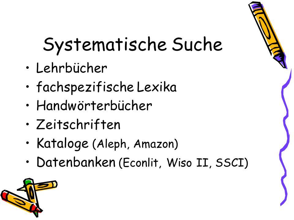 Systematische Suche Lehrbücher fachspezifische Lexika Handwörterbücher Zeitschriften Kataloge (Aleph, Amazon) Datenbanken (Econlit, Wiso II, SSCI)