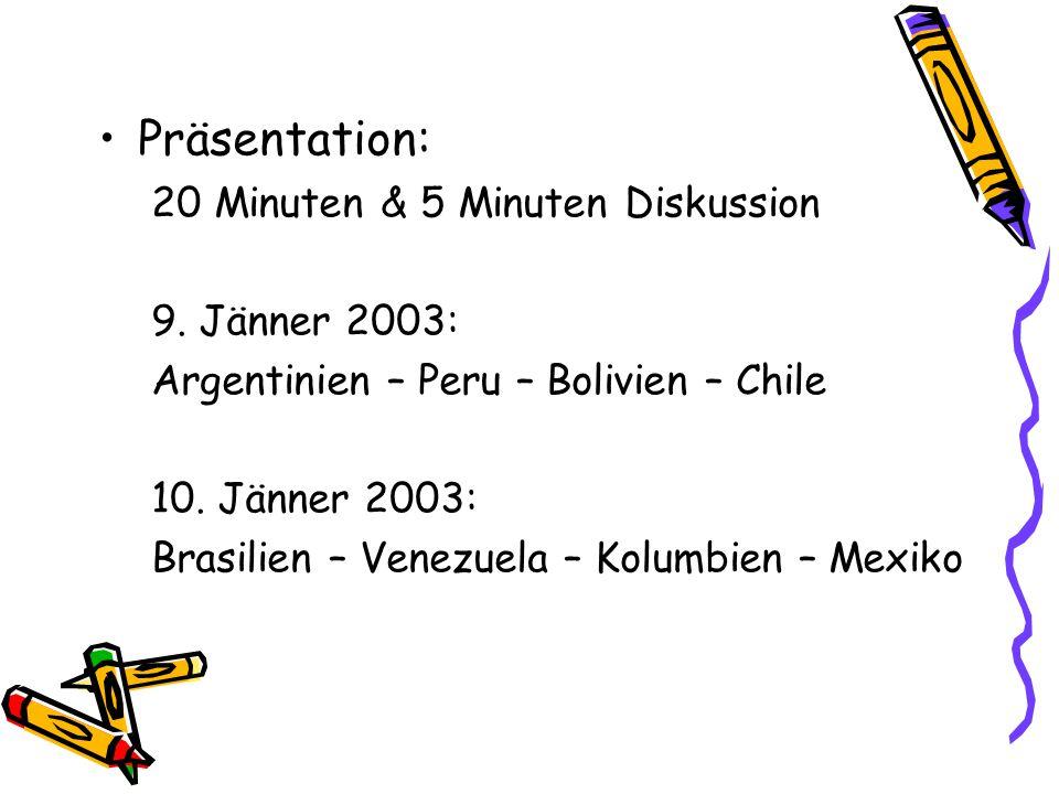 Präsentation: 20 Minuten & 5 Minuten Diskussion 9.