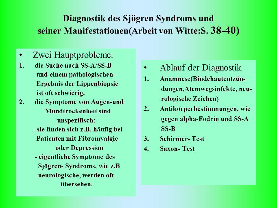 Diagnostik des Sjögren Syndroms und seiner Manifestationen(Arbeit von Witte:S. 38-40) Zwei Hauptprobleme: 1. die Suche nach SS-A/SS-B und einem pathol