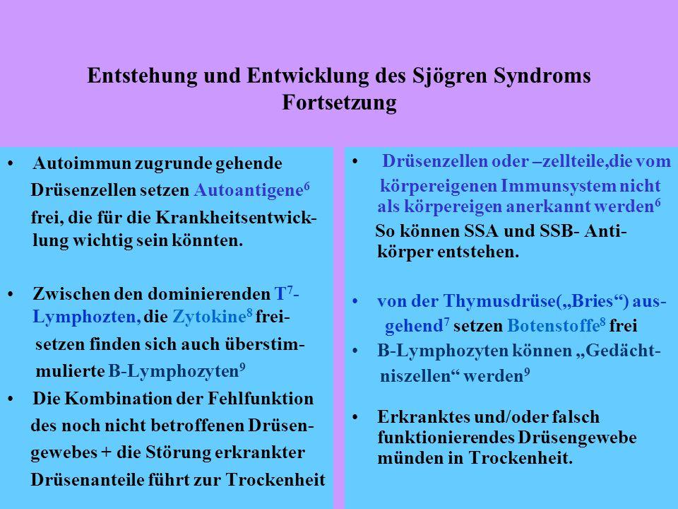 Entstehung und Entwicklung des Sjögren Syndroms Fortsetzung Autoimmun zugrunde gehende Drüsenzellen setzen Autoantigene 6 frei, die für die Krankheitsentwick- lung wichtig sein könnten.