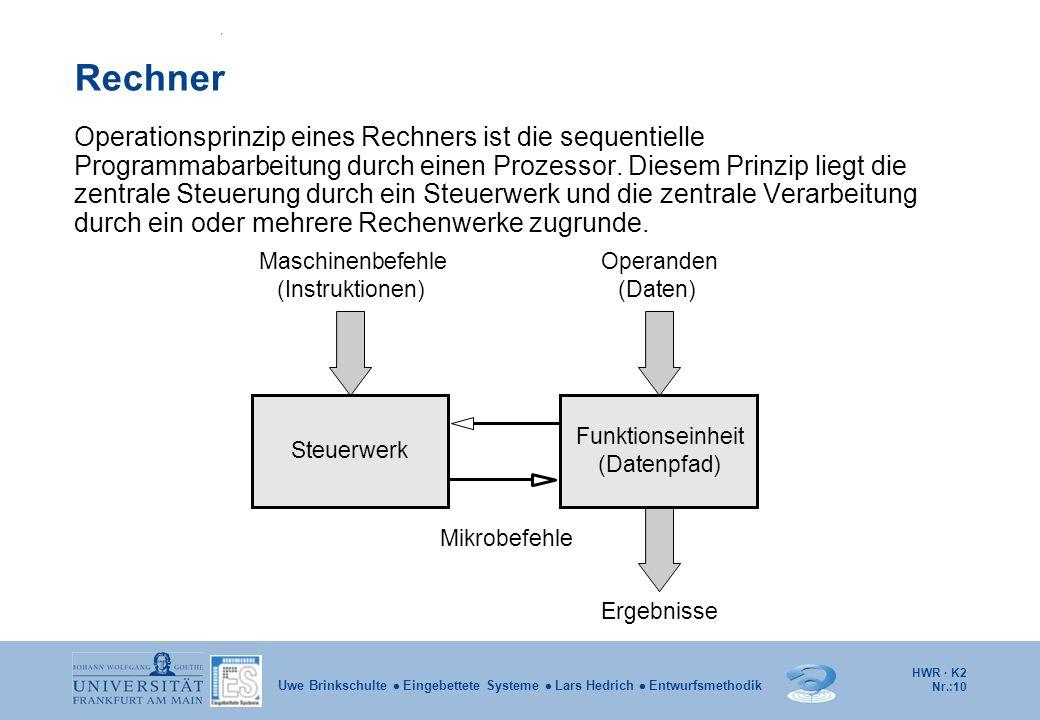 HWR · K2 Nr.:10 Uwe Brinkschulte  Eingebettete Systeme  Lars Hedrich  Entwurfsmethodik Rechner Operationsprinzip eines Rechners ist die sequentiell