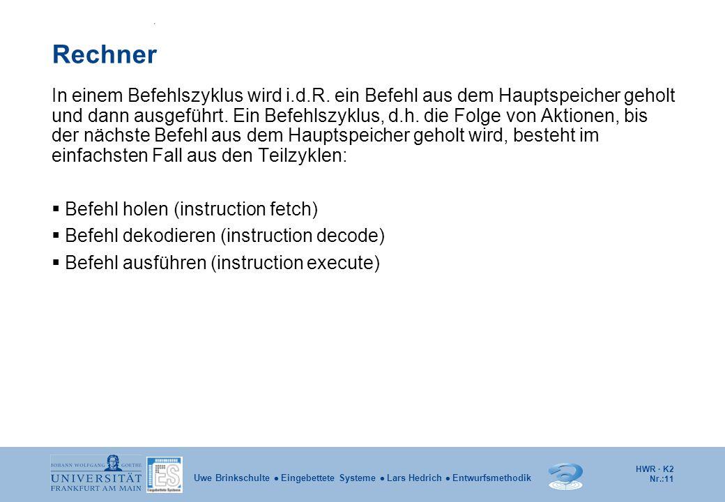 HWR · K2 Nr.:11 Uwe Brinkschulte  Eingebettete Systeme  Lars Hedrich  Entwurfsmethodik Rechner In einem Befehlszyklus wird i.d.R. ein Befehl aus de