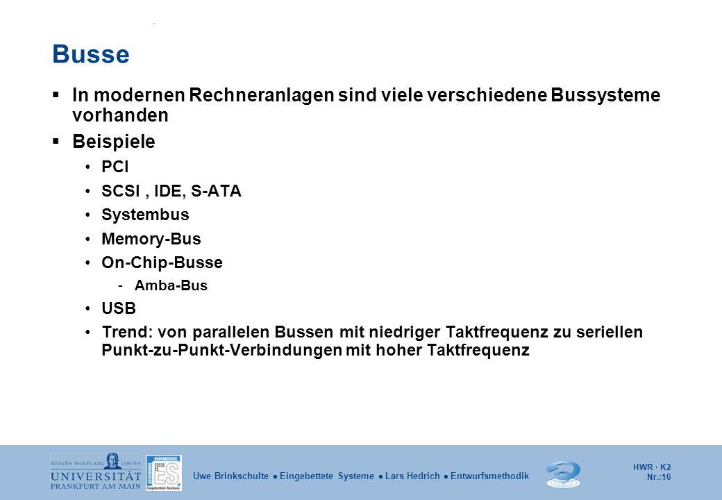HWR · K2 Nr.:16 Uwe Brinkschulte  Eingebettete Systeme  Lars Hedrich  Entwurfsmethodik Busse  In modernen Rechneranlagen sind viele verschiedene B