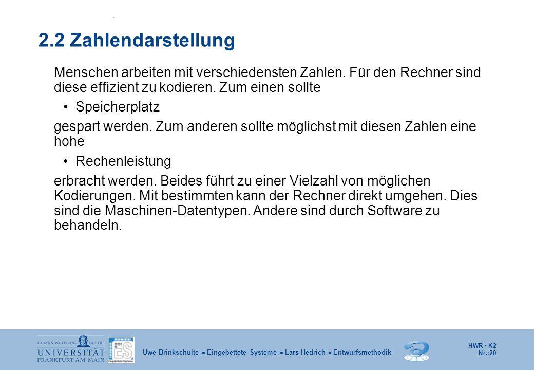 HWR · K2 Nr.:20 Uwe Brinkschulte  Eingebettete Systeme  Lars Hedrich  Entwurfsmethodik 2.2 Zahlendarstellung Menschen arbeiten mit verschiedensten
