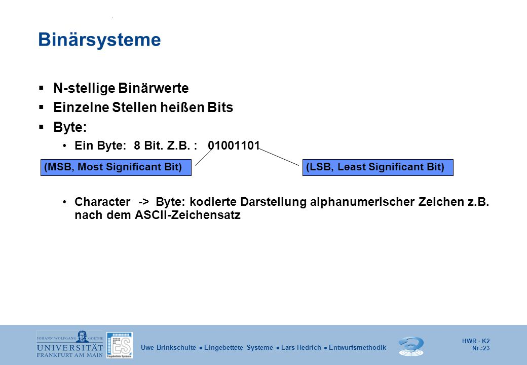 HWR · K2 Nr.:23 Uwe Brinkschulte  Eingebettete Systeme  Lars Hedrich  Entwurfsmethodik Binärsysteme  N-stellige Binärwerte  Einzelne Stellen heiß