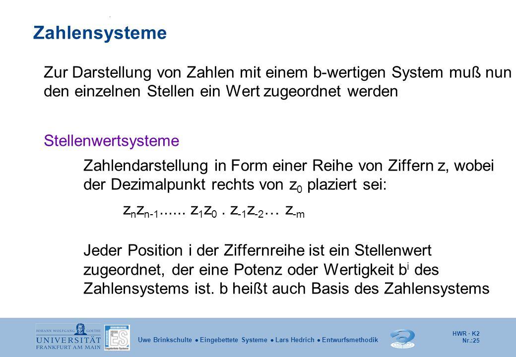 HWR · K2 Nr.:25 Uwe Brinkschulte  Eingebettete Systeme  Lars Hedrich  Entwurfsmethodik Zur Darstellung von Zahlen mit einem b-wertigen System muß n