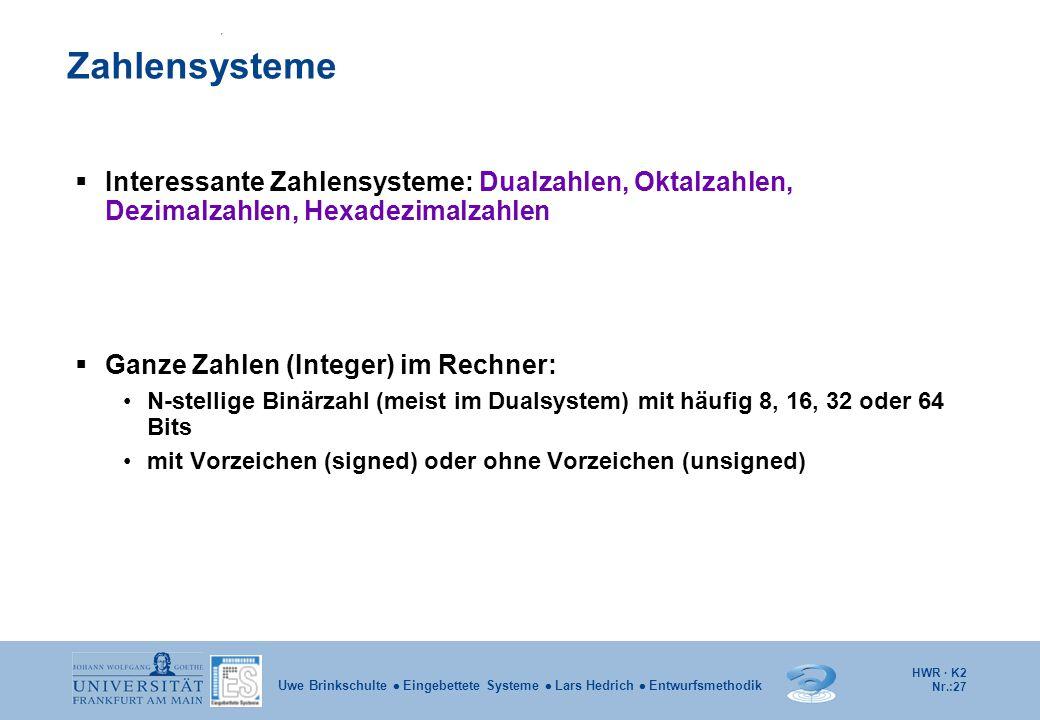 HWR · K2 Nr.:27 Uwe Brinkschulte  Eingebettete Systeme  Lars Hedrich  Entwurfsmethodik  Interessante Zahlensysteme: Dualzahlen, Oktalzahlen, Dezim