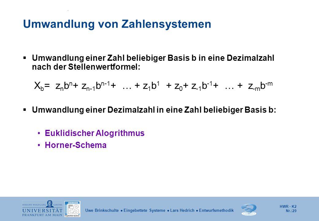 HWR · K2 Nr.:29 Uwe Brinkschulte  Eingebettete Systeme  Lars Hedrich  Entwurfsmethodik Umwandlung von Zahlensystemen  Umwandlung einer Zahl belieb