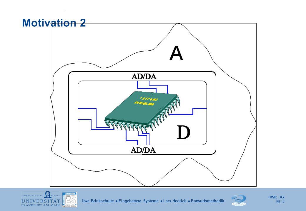 HWR · K2 Nr.:54 Uwe Brinkschulte  Eingebettete Systeme  Lars Hedrich  Entwurfsmethodik Adressierungsarten 1 Es wird zwischen den folgenden Adressierungsmodi unterschieden: Unmittelbare Adressierung: Der Operand ist im Maschinenbefehl enthalten.